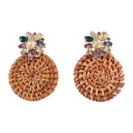 5c32030f5 Flower Accessories Earrings Handmade UK - Crystal Flower Drop Earrings Women  Boho Ethnic Bamboo Statement Earrings