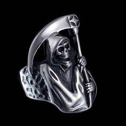 $enCountryForm.capitalKeyWord Australia - New Arrival Unique Skull Ring Luxury Designer Rings Explosion Skeleton Ring Jewelry for Men Death Scythe Size 6-15