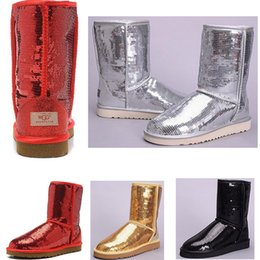 $enCountryForm.capitalKeyWord Australia - 2019 new WGG Women's Australia Women girl tall boots Snow Winter boots red yellow silver Glossy boots outdoor shoes 36-41
