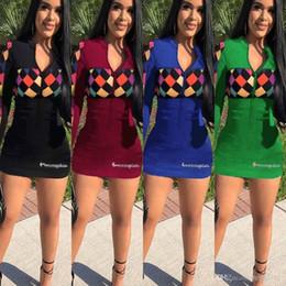 5bf40b36f Campeón Carta Mujer Falda A Cuadros Vestido Casual Ripped-holes A-line Falda  Manga Larga Ripped Holes Mini Vestidos Tight Slim Club Vestido Sexy