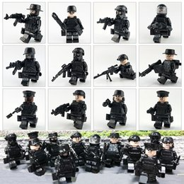 $enCountryForm.capitalKeyWord NZ - 12pcs Lot Military Police Special Forces Tactics Assault Police COD SWAT Figure with Weapons Building Block Construction Toy for Children