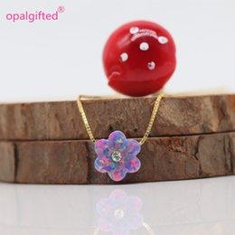 purple zircon necklace 2019 - (1pc lot)10mm Purple Fire Opal Flower with cz Zircon Pendants Necklaces for Women 925 Sterling Silver Necklaces Fashion