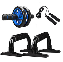 Wholesale Muscle Exercise Equipment Abdominal Press Wheel Roller Home Fitness Equipment Gym Roller Trainer with Push UP Bar Jump Rope