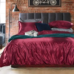 Pink Silk Bedding Sets Australia - M19010 Satin Silk Solid Color Home Textile Queen King Size Bed Set Bedclothes White Duvet Cover Set Cool Summer Flat Sheet Pillowcases