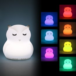 $enCountryForm.capitalKeyWord Australia - Mini Owl LED Night Light 9 Colors Nightlight Silicone Cartoon Bird Desk Table Lamp Bedroom Bedside Lamp for Children Kids Baby Gift
