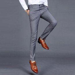 $enCountryForm.capitalKeyWord Australia - New 2019 High-quality Goods Cotton Men Pure Color Formal Business Suit Pants   Superior Quality Male Leisure Suit Pants Trousers J190420