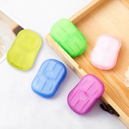 Vente en gros Comprimés de savon jetables voyage portable voyage petit savon savon tablettes de lavage de voyage nettoyage de voyage 20 comprimés savon papier mini boîte