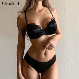 d cup cotton UK - Classic Black Satin Brassiere Comfortable Half Cup Bra Set Women Lingerie Lace Thin Cotton Underwear Set Sexy Bras B C D Cup CX200629