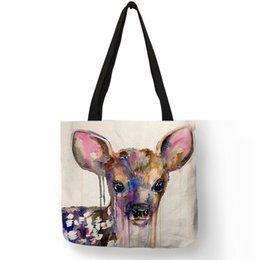 $enCountryForm.capitalKeyWord Australia - Custom Watercolor Animals Deer Panda Dog Rhino Goat Prints Totes Eco Linen Shopping Travel Bag Women Handbags Mama Diaper