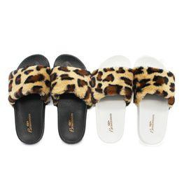 753fbd6059a2 Faux Fur Slides Australia - Womene Slippers Fashion Leopard Faux Fur Flat  Slippers Ladies Slide Plush