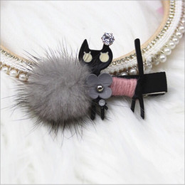 korean hairpins UK - Boutique Korean Hair Ball Cute Black Cat Hair Clips Pin Accessories For Women Girls Children Hair Barrette Clip Hairgrip Hairpin