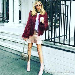 Wholesale women sexy winter coats resale online - Winter Designer Womens Fur Coat Solid Color V Neck Long Sleeve Womens Outerwear Loose Sexy Ladies Fur Coats