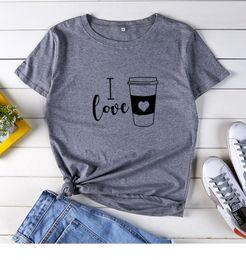 Wholesale girls undershirts online – design Womens Designer Tshirt Fashion I Love Coffee Letters Tops Short Sleeved O Neck Cute Casual Girls Undershirt