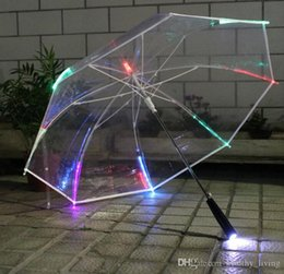 $enCountryForm.capitalKeyWord NZ - LED Light Transparent Long Umbrella Laser Sword Light up Golf Umbrellas Rainbow Changing Color LED Transparent Umbrella Parasol 158