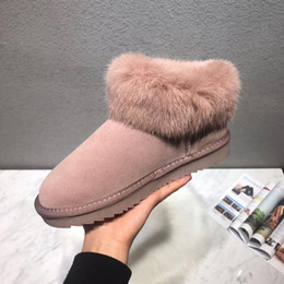 roman shoes 2020 - Brand Design Women cow leather Winter Snow Boots Fashion Australia Artificial Fox Fur Casual Indoor Home Shoe Pink Ankle