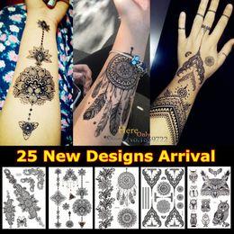$enCountryForm.capitalKeyWord NZ - 1PC Fashion Large Indian Mehndi Black Henna Temporary Tattoo Stickers Sun Flower Dreamcatcher Feather Waterproof Tattoos HBJ013A
