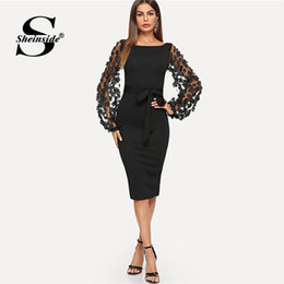 Sheinside Plain Flower Applique Elegant Bodycon Party Dress Mesh Sleeve  Knee Length Belted Women Autumn Pencil Midi Dresses Y181227 432b2a7cedd5
