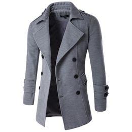 Mens Cotton Peacoat Australia - 2019 Autumn Winter Jacket Men Peacoat Mens Jackets And Coats Male Brand Clothing Chaqueta Hombre Wool & Blends Men Trench M-xxl