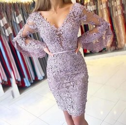 Elegant Lavender Poet Sleeves Backless SheathShort Cocktail Dresses 2020 V Neck Covered Button Lace Appliques Homecoming Dresses on Sale
