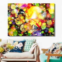 cartoon butterfly pictures NZ - 1 Pcs Modern Posters and Prints Wall Art Canvas Painting Multicolored Dreamy Butterfly Decorative Pictures for Living Room No Frame