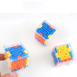 magic 3d puzzle ball Canada - 3D Cube Labyrinth Maze Magic Cube Puzzle Mini Plastic Maze Box Fun Brain Game Magical Ball Challenge Educational Toys for Kids