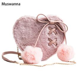 harajuku cell phone 2019 - Harajuku Kawaii Bow Plush Women Bag Hair Ball Heart-shaped Female Shoulder Messenger Bag Chain Crossbody Party Phone che