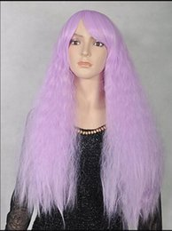 $enCountryForm.capitalKeyWord Australia - WIG free shipping Ladies Long purple curly invisible part carve lace front wig