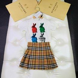 $enCountryForm.capitalKeyWord Australia - 2019 the new children's suit rabbit printed short-sleeved shirt with plaid skirt summer suit
