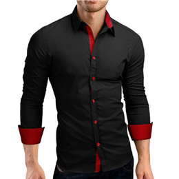 $enCountryForm.capitalKeyWord Australia - Men Shirt Brand 2018 Male High Quality Long Sleeve Shirts Casual Hit Color Slim Fit Black Man Dress Shirts 4xl C936