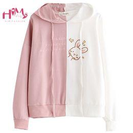 Cartoon Rabbit Hoodies Australia - Japanese Lovely Pink Hoodies Pullover Mori Girl Cute Rabbit Cartoon Preppy Style Tracksuit Embroidery Bunny Kawaii Sweatshirts