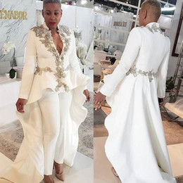 Training Jumpsuits Australia - 2019 White Women Jumpsuits Evening Dresess Beaded Long Sleeve Deep V Neck Prom Dress Custom Made Sweep Train Formal Party Gowns