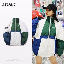 Womens Parkas Australia - Aelfric Womens Winter Thick Jacket Coat Casual Letter Embroidery Parka Warm Color Block Patchwork Hip Hop Female Jackets FK18
