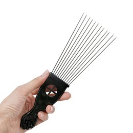 $enCountryForm.capitalKeyWord Australia - Retro Oil head Professional Flat Comb Fork comb Steel needle Pick Hair flat comb Hairdressing Styling Tools barber brush Free shipping