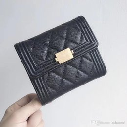 Army Wallets Australia - 5A Quality Women's Fashion Blue caviar high quality wallet tri-fold wallet Factory Outlet