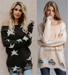 sweater holes sleeves Australia - Women Pullover Loose Sweater Fashion Trend New Autumn Ladies Pentagram Print Sweaters Designer Female Casual Hole Long Sleeve Clothes