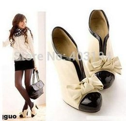 $enCountryForm.capitalKeyWord Australia - Wholesale-Brand Designer Sweet Womens High Heels Bowties Slip on platform Pumps Ladies Wedding Shoes White AR56 Plus Size 41 Cheap