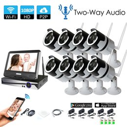 wireless home security cameras kits 2019 - 8PCS Home Wireless CCTV Security System two way audio talK HD NVR Kit P2P 8CH 1080P Indoor IR Night Vision 2.0MP IP Weat