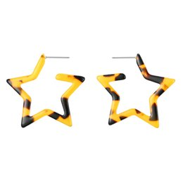 $enCountryForm.capitalKeyWord Australia - 1Pair Leopard Print Star Heart Acetic Acid Hoop Earrings Women Unique Sexy Hollow Triangle Round Resin Big Earrings Jewelry E262