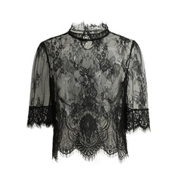 Maglie Camicia Clubwear Blusas Nero Sexy Sheer Lace Crop Top Donna Ricamo Lace Top collo alto mezza manica Ladies Blouse