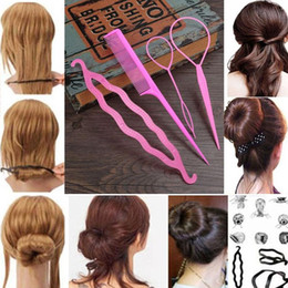 hair braiding styling UK - 4Pcs Braid Ponytail Bun Maker Comb DIY Hairdressing Accessory Hair Styling Set