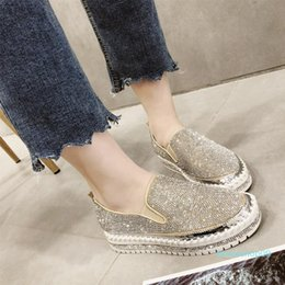 creeper top Canada - 2019 Top Fashion Crystal Loafers Brand European Espadrilles Shoes Woman Leather Creepers Flats Ladies Loafers Size 5-8.5 cvx1