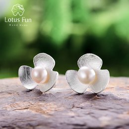 plastic lotus plants 2019 - Lotus Fun Real 925 Sterling Silver Natural Pearl Handmade Fine Jewelry Cute Fresh Clover Flower Stud Earrings For Women