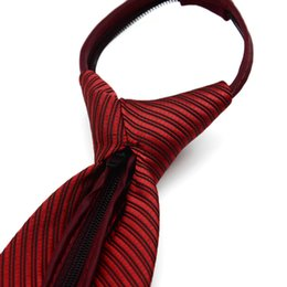 Skinny tie paiSley online shopping - 10CM wide men s business suit easy to pull lazy ZIPPER TIE wedding groom groomsman security tie