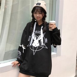 Cartoon Rabbit Hoodies Australia - Winter Women Hoodies Sweatshirts Clothes Brand With Rabbit Print Cartoon Lace Up Tieback Loose Long Sleeve Woman Hoody Sweatshirt