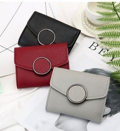Branded metal leather card holder online shopping - Women Wallet Short Leather Ladies Metal Designer Wallets for Women Mini Candy Color Clutch Brand Female Purse Coin Card Holder