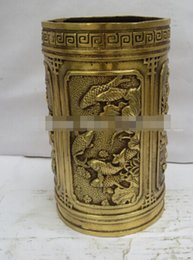 Christmas Fish Ornament Australia - NEW ++christmas decorations for home+ Collectible Chinese Brass Carved Lotus And Fish Pen Holder 2 Dragon Mark Chinese Pen