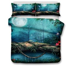 China 3D Scenic Bedding Set Dreamlike Scenic Printed Duvet Cover with Pillowcase Romantic Bed Set Twin Full Queen King Size cheap bedding sets duvet covers suppliers