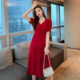 fairy style dresses NZ - 2020 New Summer Women Beach Style Chiffon Puff Sleeve Solid Pathwork Long Loose Fairy Dress Female V-Neck A-Line Vestidos Y266