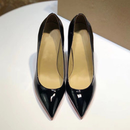 Luxury High Heel Women Leather Dress Shoes Designer Black Stiletto Heel Shoes Women Wedding Party Dress Shoes With Box, receipt on Sale