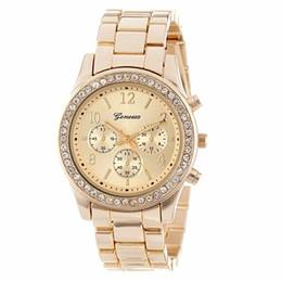 $enCountryForm.capitalKeyWord UK - Geneva 2019 New Quartz Women's Watch Three Eyes Drill Stainless Steel Metal Watches Plating Classic Women's Crystal Watch Dress